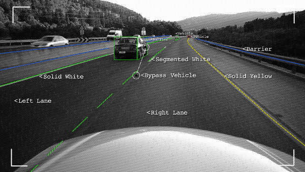 Mobileye - Scene Interpretation - Box on Vehicle and Nearby Lines