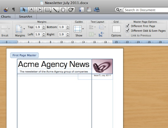 Using Masters, Part 1 Easy Page Layout Using Microsoft Word 2011 - degrees in microsoft word