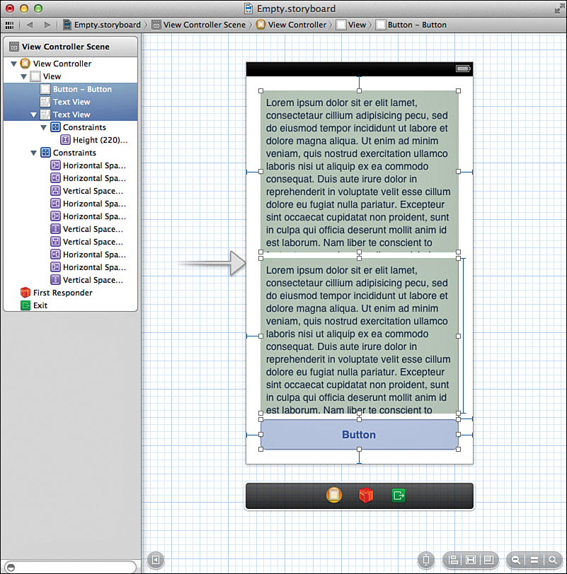 Using Auto Layout Building Responsive User Interfaces in iOS6 - vertical storyboard