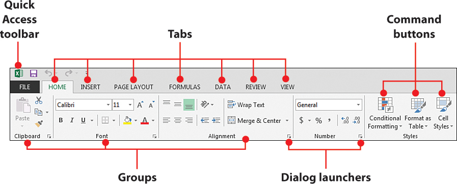 Working with Excel 2013\u0027s Ribbon Menus Familiarizing Yourself with