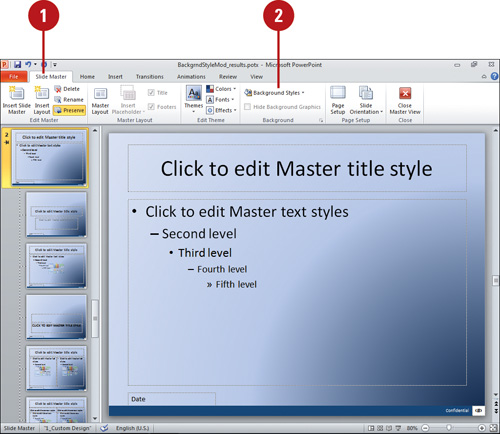 Modifying a Background Style Microsoft PowerPoint 2010 On Demand