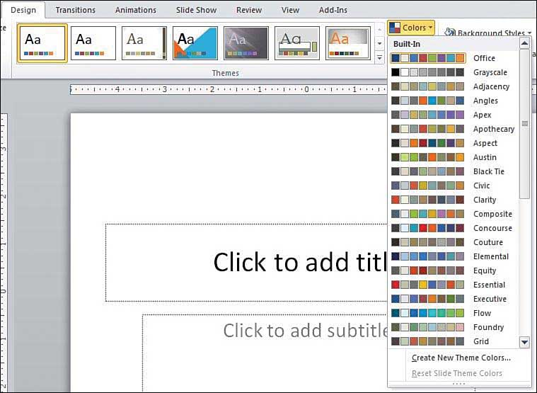 Getting Started with PowerPoint Set Up a Theme Understanding