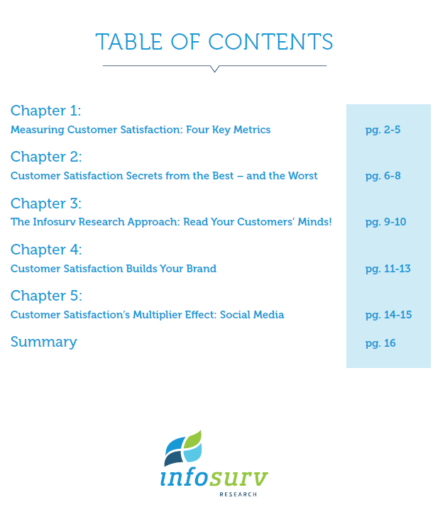 customer satisfaction ebook table of contents
