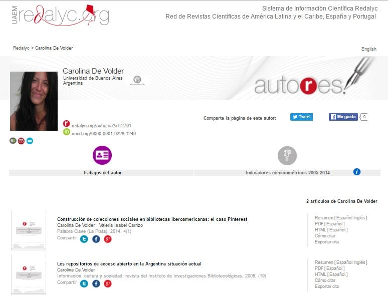 Página de Autor de Carolina De Volder