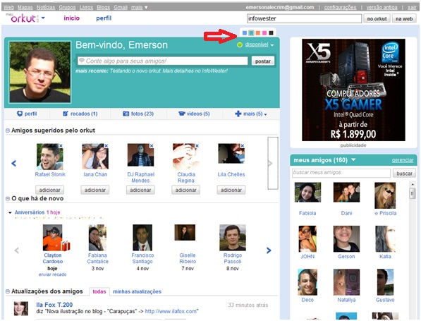Novo visual do orkut
