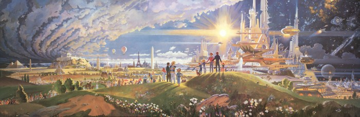 "Robert McCall's ""The Prologue and the Promise"" mural for Disney EPCOT's Horizons.I"