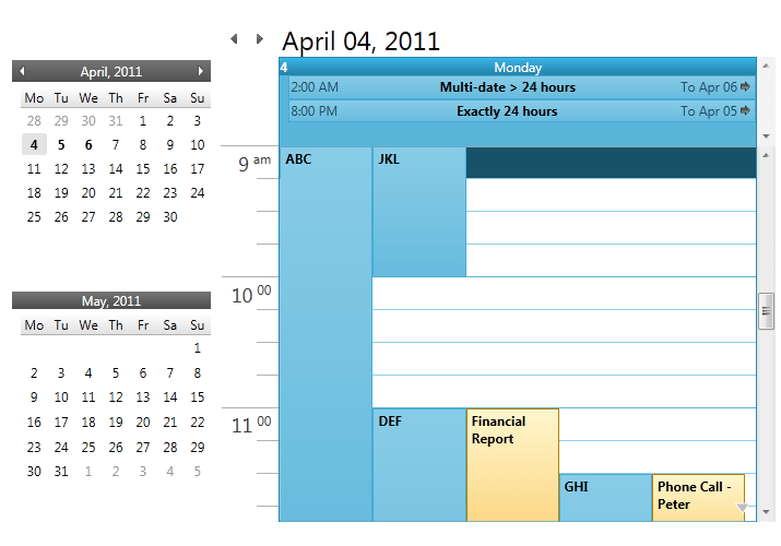 Schedule Calendar Wpf C Inotifypropertychanged And Observablecollection Wpf Outlook Calendar View And Date Navigator Schedule Wpf