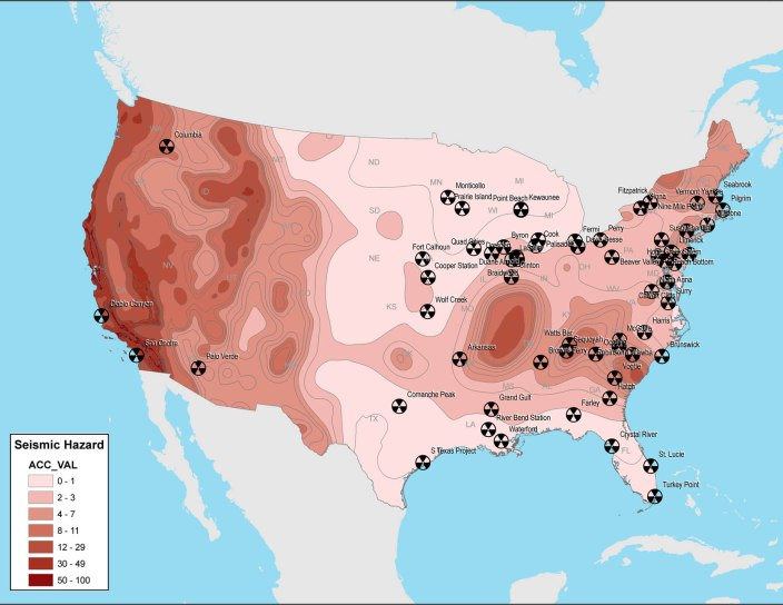 New maps of nuclear power plants and seismic hazards in the United States