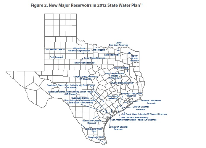 Figure 2: New Major Reservoirs in 2012 State Water Plan