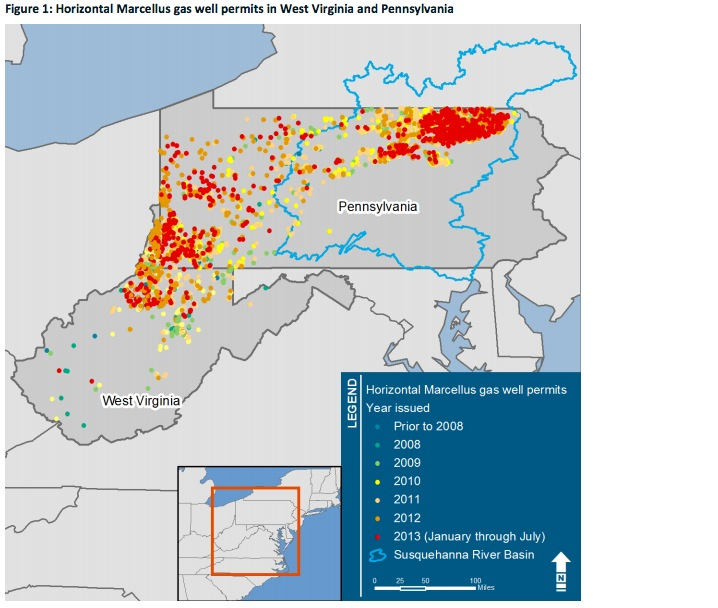 Figure 1: Horizontal Marcellus gas well permits in West Virginia and Pennsylvania