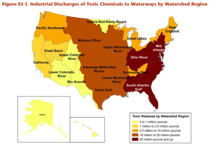Figure ES-1. Industrial Discharges of Toxic Chemicals to Waterways by Watershed Region