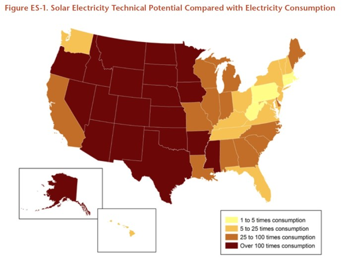 Figure ES-1. Solar Electricity Technical Potential Compared with Electricity Consumption