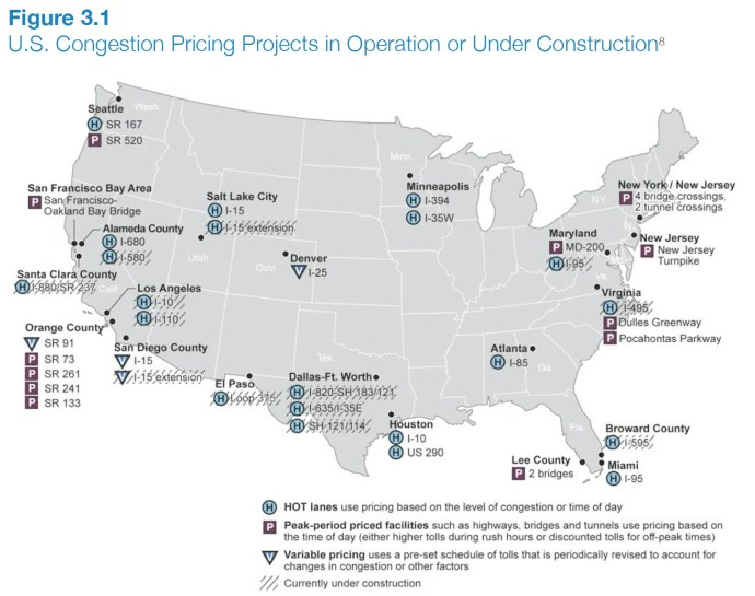 Figure 3.1 U.S. Congestion Pricing Projects in Operation or Under Construction8