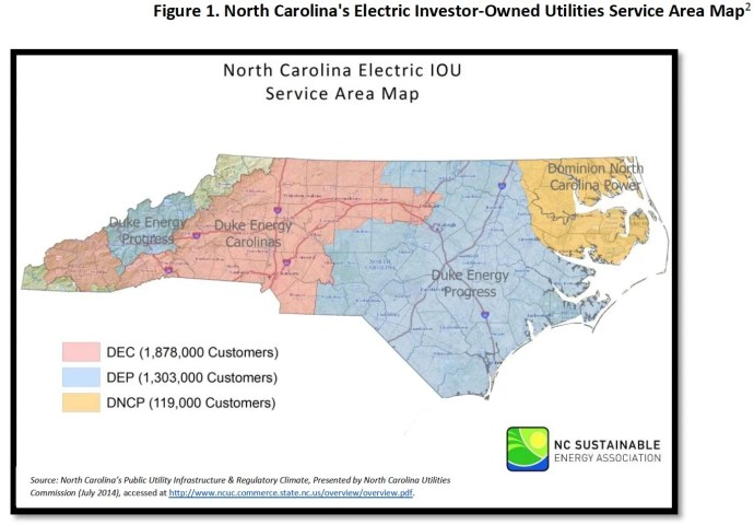 Figure 1. North Carolina's Electric Investor-Owned Utilities Service Area Map