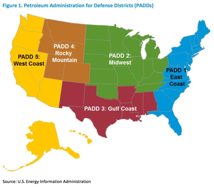 Figure 1. Petroleum Administration for Defense Districts (PADDs)