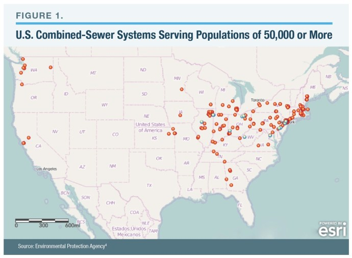 Figure 1: U.S. Combined-Sewer Systems Serving Populations of 50,000 or More