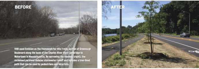 VHB used Envision as the framework for this 1-mile section of Greenough Boulevard along the bank of the Charles River from Cambridge to Watertown in Massachusetts. By narrowing the roadway (right), the reclaimed parkland reduces stormwater runoff and includes a tree-lined path that can be used by pedestrians and bicyclists.