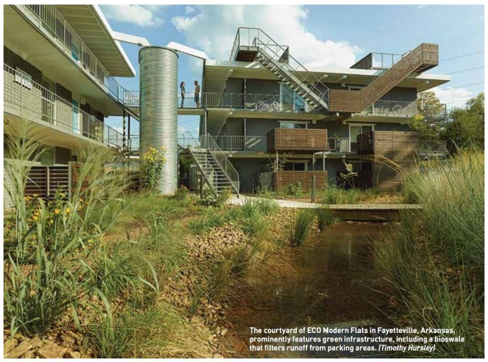 The courtyard of ECO Modern Flats in Fayetteville, Arkansas, prominently features green infrastructure, including a bioswale that filters runoff from parking areas. (Timothy Hursley)