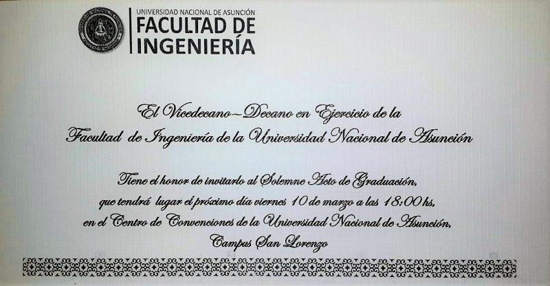 Invitación al Acto de Graduación de la Promoción 2015 \u201cEntendimiento