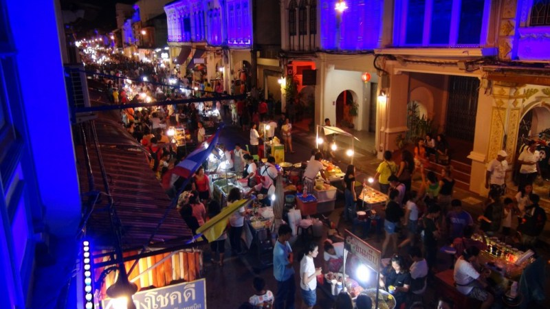 phuket town, Thailand, backpacking, aften marked