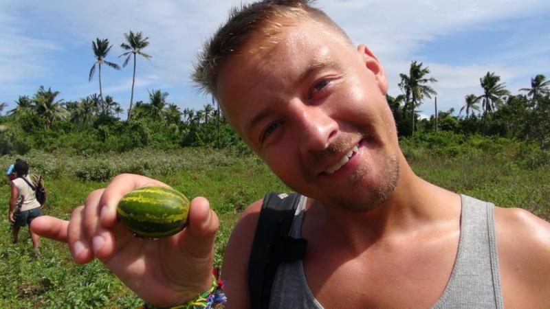 filippinerne, solskin, backpacking, strand, higatangan island, tyfon, strand, vandmelon