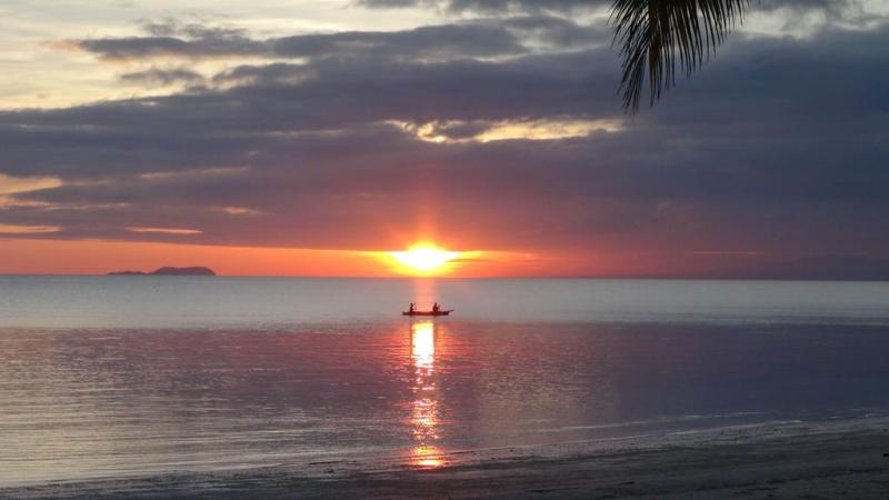 filippinerne, scooter, siquijor island, strand, paradis, palmer, solnedgang