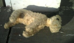 sweet-vintage-sawdust-stuffed-toy-dog-sleeping