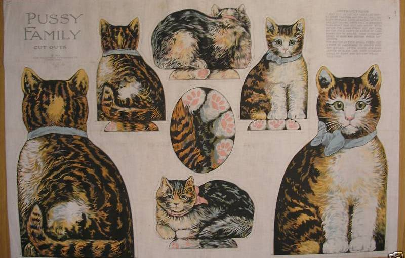 antique oil cloth Pussy Family by Saalfield Publishing Co