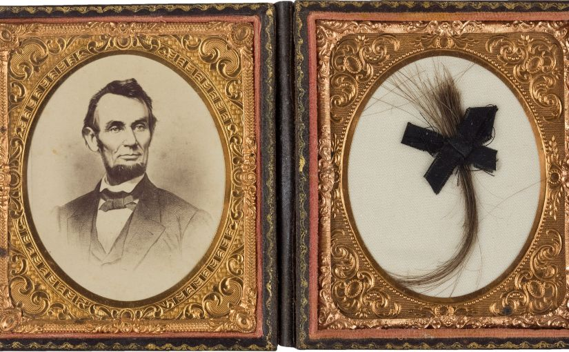 albumen portrait of Lincoln with lock of presidents hair