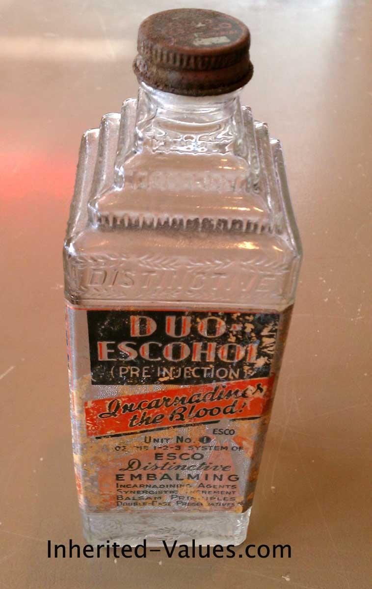 Vintage Art Deco Glass Embalming Bottle