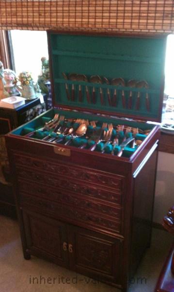 rosewood flatware cabinet