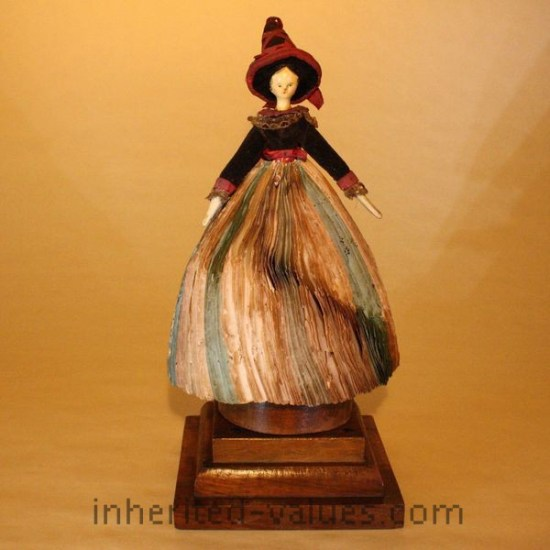 Grödnertal Wooden Doll as French Fortune Teller antique