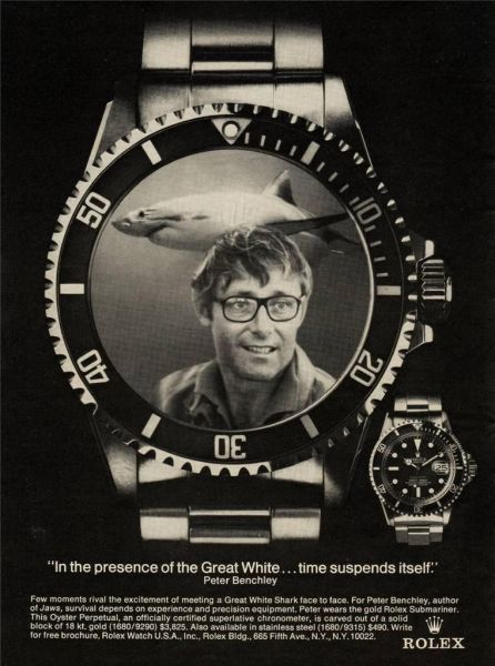 Rolex Submariner Chronometer Jaws Movie Watch Ad with Peter Benchley