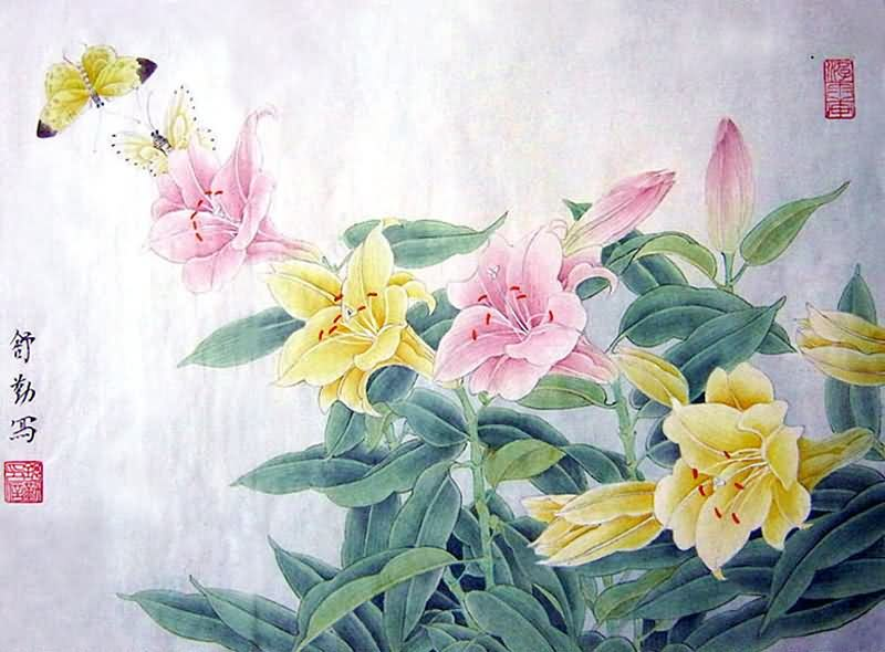 Fireplace 3d Wallpaper Chinese Lily Painting Lily 2405001 34cm X 46cm 13〃 X 18〃