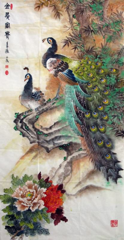 3d Wallpaper Made In China Chinese Peacock Peahen Painting Peafowl 2621004 69cm X