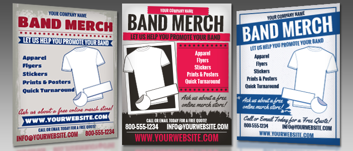 Band Merch Marketing Flyers for Screen Printers