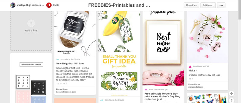 Freebies Pinterest board