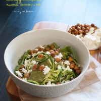 Zucchini noodles with crispy chickpeas