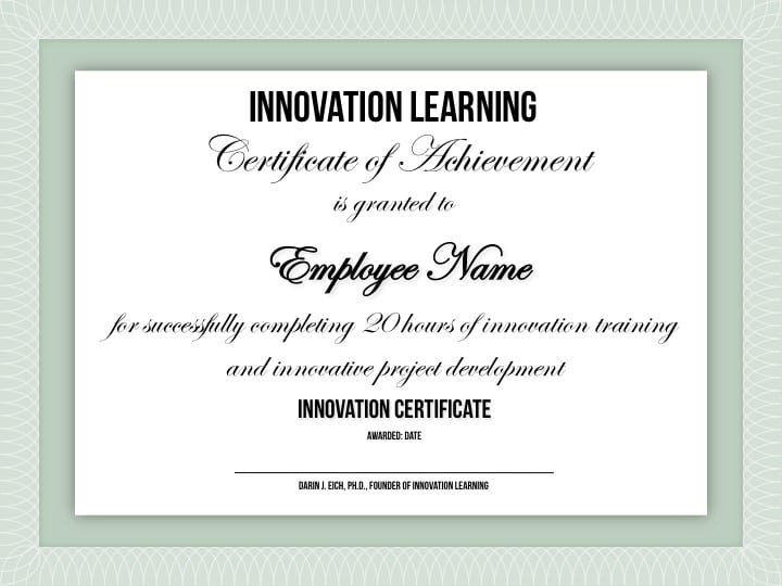 Innovation Certification \u2014 Innovation Training Design Thinking