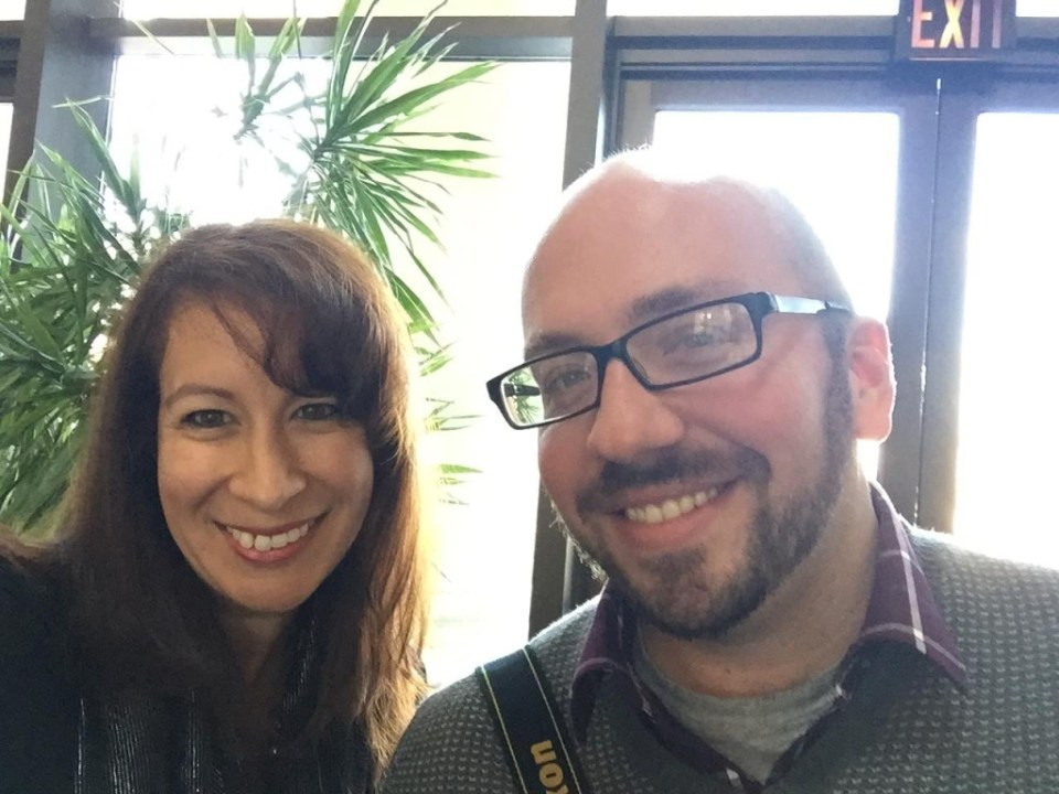 VOA's Joanna Del Moral takes a selfie with InPark's Martin Palicki before heading to the City Museum in St. Louis