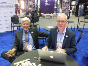 (L to R): 2016 TEA President Steve Birkett and 2017 President David Wilrich at TEA booth during 2016 IAAPA Attractions Expo