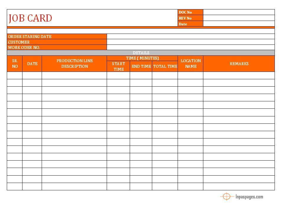 Job Card format Word Document Excel PDF Sample