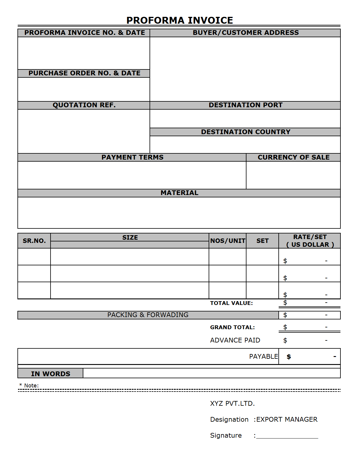 format of proforma invoice – notators, Invoice templates