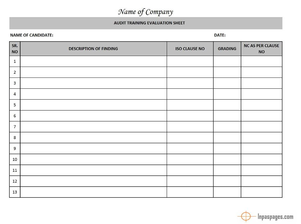 Audit Training Evaluation Sheet - - audit template word