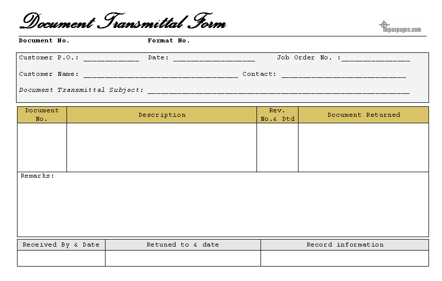 Transmittal Letter Of Documents – Transmittal Template