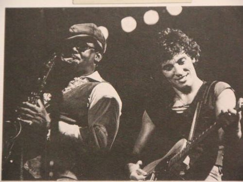 Bruce Springsteen (right) and the late Clarence Clemons (left) perform at Rutgers University on Oct. 12, 1976, a year after Born To Run was released.