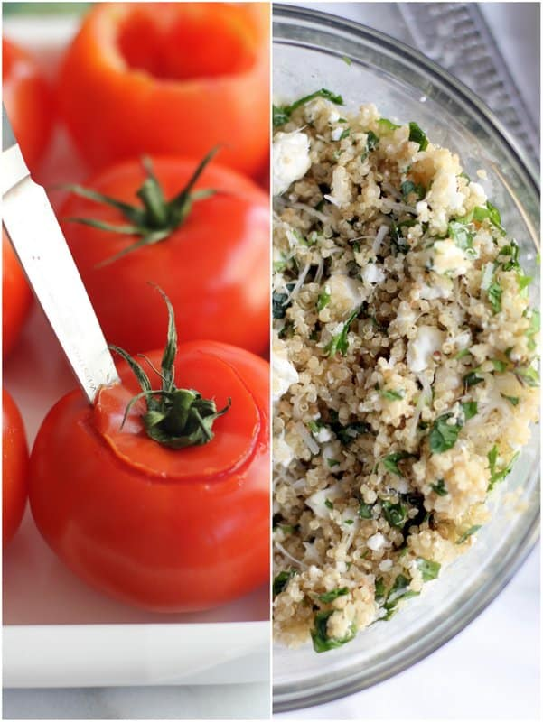 Quinoa and Goat Cheese Stuffed Tomatoes - Inquiring Chef