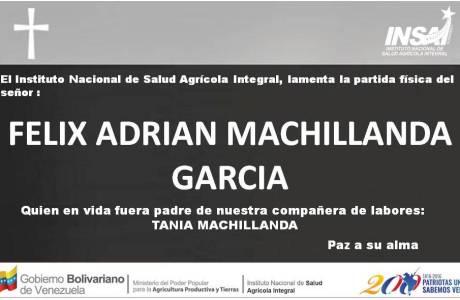 Obituario Felix Adrian Machillanda Garcia