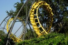 a-yellow-roller-coaster-track-set-amid-trees