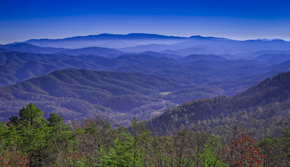Late fall view of the Smoky Mountains